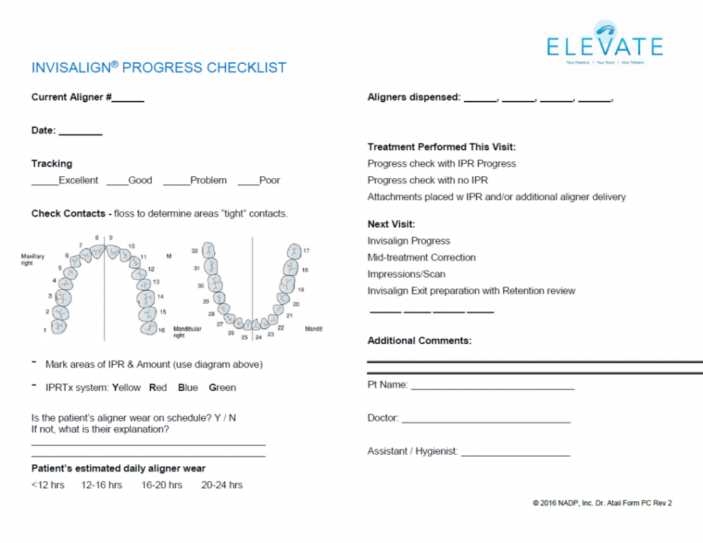invisalign progress checklist form download dr payam ataii